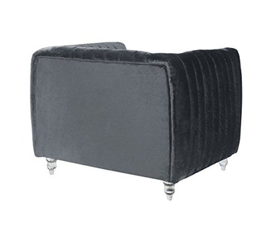 Iconic Home Kent Elegant Velvet Modern Contemporary Plush Cushion Seat Round Acrylic Feet Club Chair, Grey