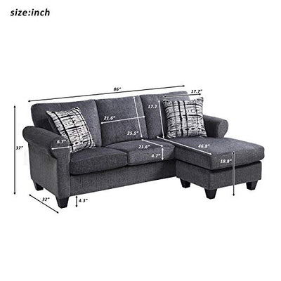 Convertible Sectional Sofa| L-Shaped Couch 3-Seat Sofa Sectional with Reversible Chaise,Grey