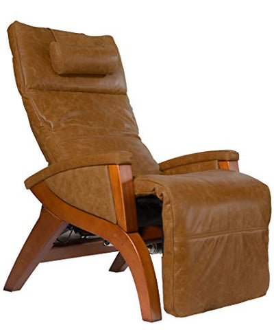 Svago Newton Zero Gravity Chair (SV630) Power Recline | Premium Leather | Air Massage | Air Lumbar Support | Memory Foam | Heat | Quick Controls | Easy to Use Remote (Caramel/Honey Wood)