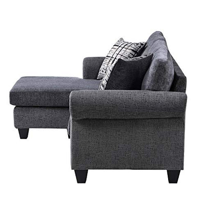 Merax Couch Convertible Sofa with Reversible Chaise for Living Room or Bedroom, L Shaped Sectional, Linen Grey