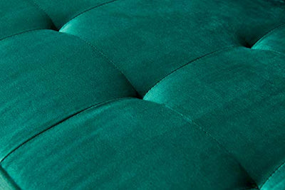 "Lifestyle Mid-Century Modern Velvet Fabric Bench Sectional Couch Sofa, 79"" W Emerald"