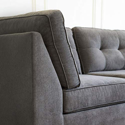 Abbyson Living Fabric Upholstered 5-Piece Modular Sectional Sofa with Coordinating Ottoman, Grey