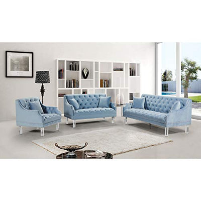 "Meridian Furniture Roxy Collection Modern | Contemporary Velvet Upholstered Chair with Luxurious Deep Tufting, Nailhead Trim and Acrylic Legs, Sky Blue, 33.5"" W x 32"" D x 35"" H"