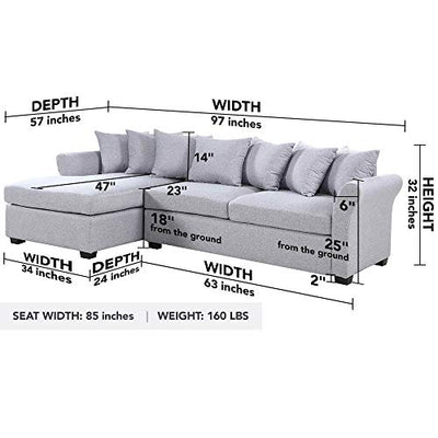 Divano Roma Furniture Modern Sectional, Large, Grey