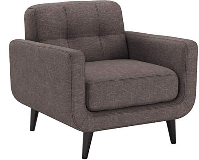 AC Pacific Crystal Collection Upholstered Charcoal Mid-Century Tufted Arm Chair, Charcoal