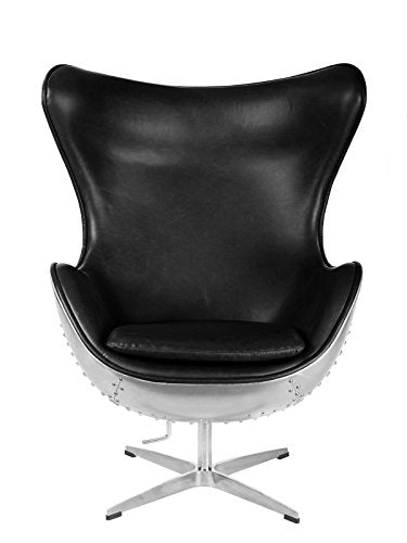 Hand-Hammered Aviator Aluminum Mid Century Modern Classic Arne Jacobsen Style Egg Replica Lounge Chair with Premium Vintage Wax Black PU Leather Fiberglass Inner Shell and Polished Aluminium Frame