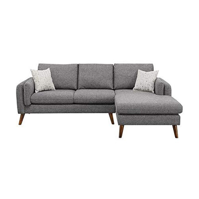 BOWERY HILL Modern Founders Light Gray Cotton Blended Fabric Right-Facing Sectional Sofa Including 2 Pillows