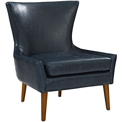 Modway Keen Upholstered Vinyl Armchair in Blue