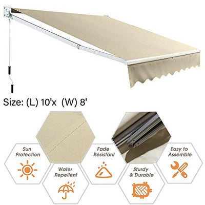 HTTMT- 10'x 8' Manual Retractable Sun Shade Patio Awning w/Durable Design Canopy Water-Resistant Polyester [P/N: ET-AWNING001-3Beige]