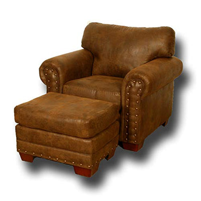 American Furniture Classics Model Buckskin arm chair, Pinto Brown