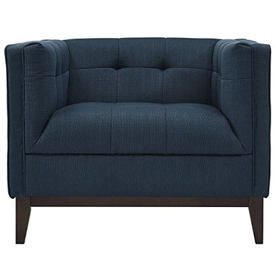 Modway Serve Modern Accent Arm Lounge Chair with Upholstered Fabric Tufted Fabric in Azure