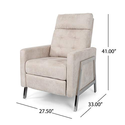 Baron Modern Tufted Microfiber Push Back Recliner with Stainless Steel Legs, Ivory and Gray