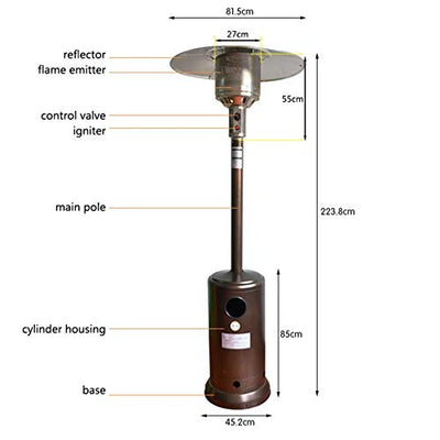 Axhpink Outdoor Patio Heater Wheels Portable - LP Gas Propane Heater Auto Shut Off, 46000 BTU Output, 88 Inches Tall, Suitable for Balcony, Veranda, BBQ Party, Garden Wedding (Silver)