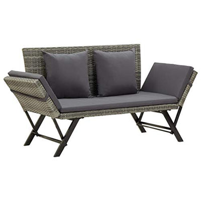 Festnight Outdoor Bench 2-in-1 Convertible Day Bed with Cushion and Pillows Both Side Adjustable Poly Rattan Garden Bench for Backyard, Balcony, Lawn, Poolside Furniture (Gray)