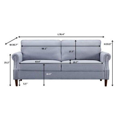 2 Pieces Sofa Set for Living Room, Sectional Sofa Couch with 3 Seat and Sofa Loveseat (Grey, 56 inch+ 76inch)