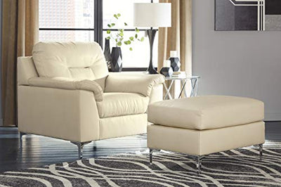 Signature Design by Ashley - Tensas Contemporary Faux Leather Armchair, Off-White