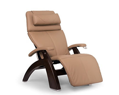 Perfect Chair Human Touch PC-420 Classic Manual Plus Series 2 Dark Walnut Wood Base Zero-Gravity Recliner - Sand Top Grain Leather - in-Home White Glove Delivery