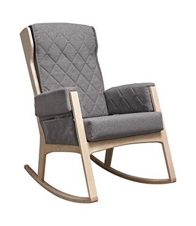 Dutailier Margot Rocking Chair with Washable Cushion Covers (Natural Wood/Dark Grey)