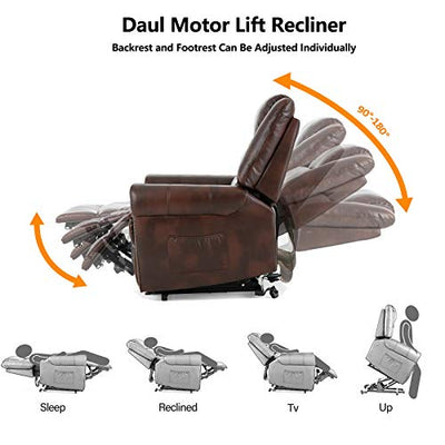 Mecor Lift Chair Recliner Dual Motor PU Leather Power Lift Recliner for Elderly Lay Flat Sleeper Recliner with Massage/Heat/Vibration/Remote Control for Living Room