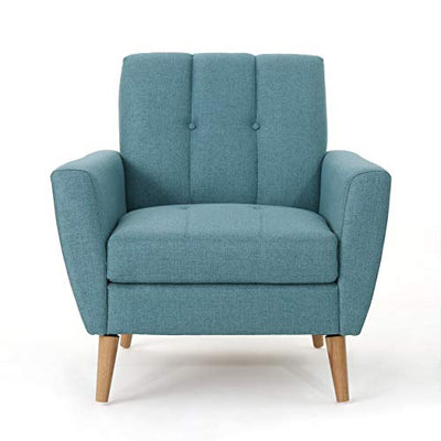 Christopher Knight Home Treston Mid-Century Modern Fabric Club Chair, Blue / Natural
