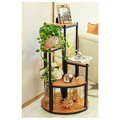LSNLNN Flower Stands,Plant Frame Wrought Iron Solid Wood Living Room Flower Room Floor Flower Stand Plant Decoration,30×38Cm