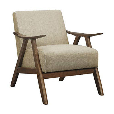 Lexicon Damala Collection Retro Inspired Wood Frame Accent Chair Seat with Polyester Fabric for Living Rooms and Offices, Light Brown (2 Pack)
