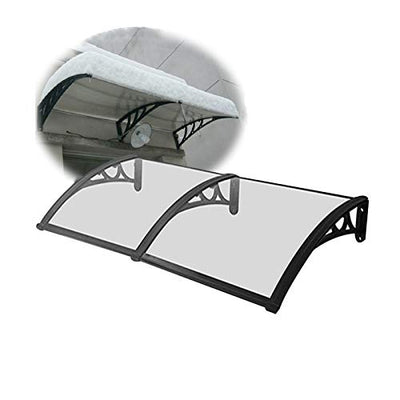 JIANFEI Door Canopy Window Awning, Outdoor Polycarbonate Rain Snow Cover, Courtyard Balcony Shelter Roofing Canopies,Aluminum Bracket 7 Sizes Customizable (Color : Clear, Size : 80X200CM)