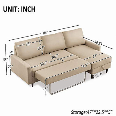 "Rhomtree Convertible Sectional Sofa Couch with Storage 84"" Pull Out Sleeper Sectional Sofa Bed L-Shaped Futon Couch with Modern Linen Fabric for Living Room (Beige)"