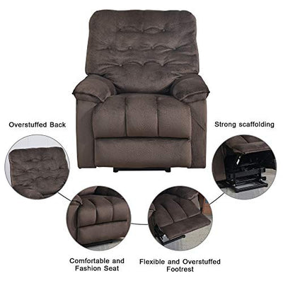 Harper&Bright Designs Power Lift Recliner Chair Soft Fabric Living Room Sofa Chair (Espresso Fabric)