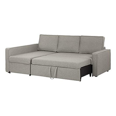 South Shore Live-It Cozy Sectional Sofa-Bed with Storage, Gray Fog