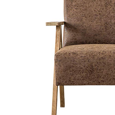 New Pacific Direct Spencer PU Leather Arm Accent Chairs, Brown