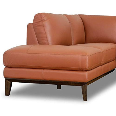 ASHCROFT Mid-Century Modern Milton Orange Leather Sectional Sofa (Left Chaise)