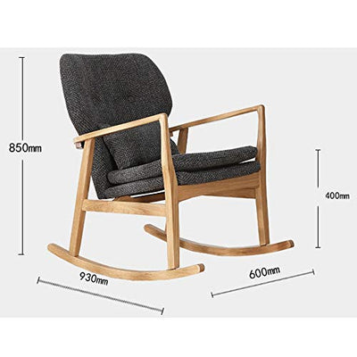 GEQWE Rocking Chair Nordic Rocking Chair Simple Modern Lazy Fabric Sofa Chair Leisure Balcony Casual Adult Siesta Rocking Chair Easy to Assemble (Color : Wood Color, Size : M)