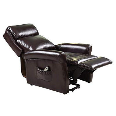 Tangkula Power Lift Chair Recliner, Electric Lounge Chair for Elderly, PU Leather Ergonomic Design, w/Remote Control, 2 Side Pockets, Lift Chair Recliner (Brown)