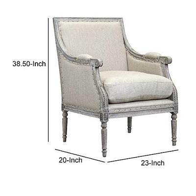 Benjara Hand Carved Wooden Armchair with Fabric Upholstered Seating, Gray