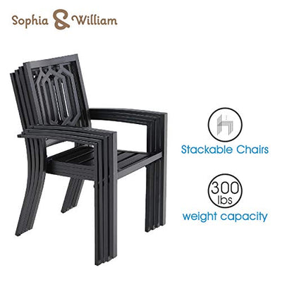 Sophia & William Patio Dining Set, 9 Piece Metal Outdoor Expandable Dining Table Set Bistro Furniture Set - 1 Rectangle Expanding Dining Table and 8 Outdoor Lawn Chairs with Wood-Like Table Top