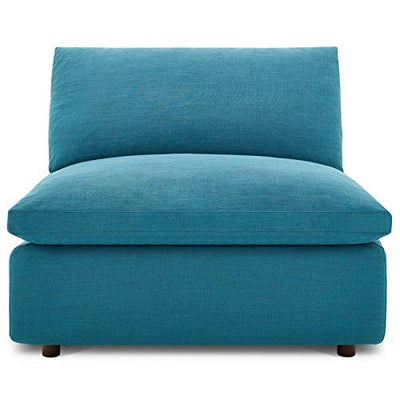 Modway Commix Down-Filled Overstuffed Upholstered Sectional Sofa Armless Chair in Teal