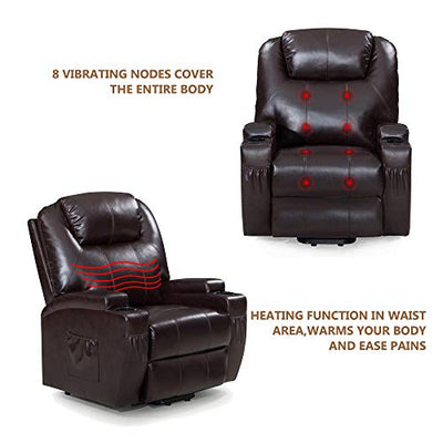 Windaze Power Lift Recliner Chair Luxurious Bonded Leather, Heavy Duty Steel Lounge Living Room Sofa for Elderly, Brown
