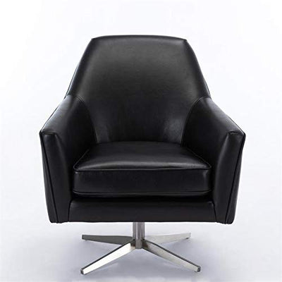 Comfort Pointe Phoenix Black Faux Leather Swivel Armchair