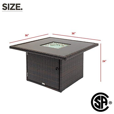OAKVILLE FURNITURE 6FT36 Square Patio Propane Gas Rattan Fire Pit Table 50,000 BTU CSA Certificated Brown Wicker Black Tempered Glass