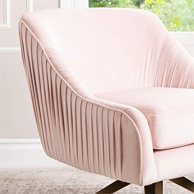 Abbyson Living Velvet Upholstered Swivel Accent Chair with Pleated Design, Pink