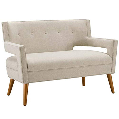 Modway Sheer Upholstered Fabric Mid-Century Modern Armchair Set of 2 in Sand, 2