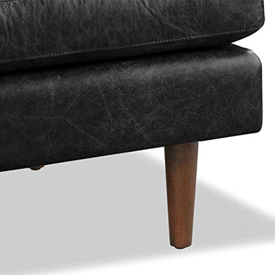 Poly and Bark Napa Ottoman in Full-Grain Semi-Aniline Italian Tanned Leather in Onyx Black