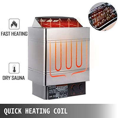 VEVOR Sauna Heater 9KW Dry Steam Bath Sauna Heater Stove 220V-240V with External Controller Electric Sauna Stove for Max.459 Cubic Feet Home Hotel Sauna Room Spa Shower Bath Sauna