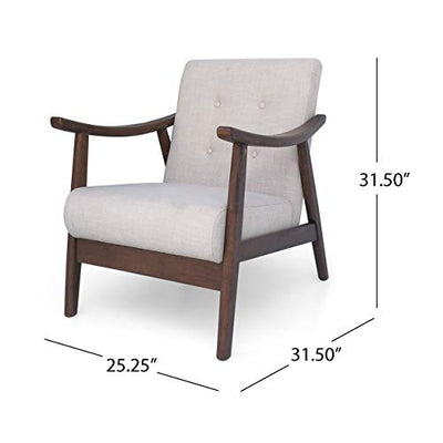 Christopher Knight Home Aurora Mid-Century Modern Accent Chair, Beige, Brown