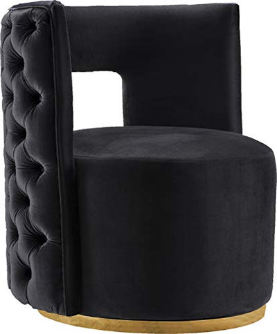 "Meridian Furniture Theo Collection Modern | Contemporary Velvet Upholstered Accent Chair with Deep Button Tufting and Swivel Base in Gold Finish, 28"" W x 27"" D x 31"" H, Black"