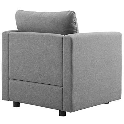 Modway Activate Contemporary Modern Fabric Upholstered Accent Lounge Armchair In Light Gray