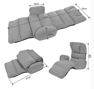JiaQi Couples Floor Chair,Creative Individual Folding Sofa,Removable Sofa Lazy,Lazy Sofa Deck Chair-Gray