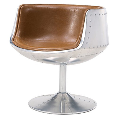 New Pacific Direct Conan PU Leather Swivel Chair,Aluminum Legs,Distressed Caramel