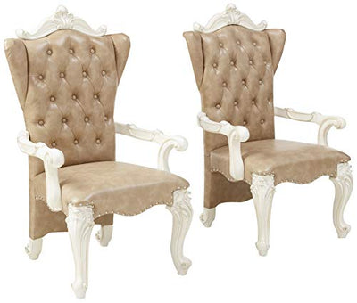 ACME Versailles Vintage Gray Faux Leather Arm Chair Set of 2
